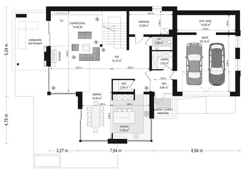 Dom z widokiem 2 - rzut parteru odbicie lustrzane
