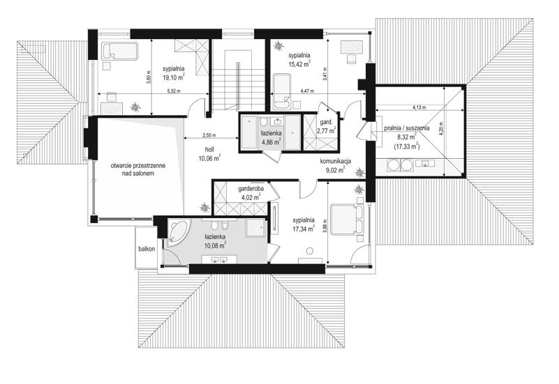 Dom z widokiem 2 - rzut piętra odbicie lustrzane