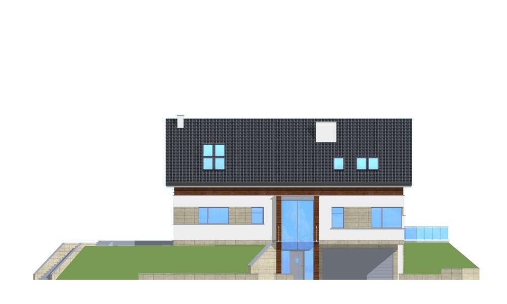 Dom na górce - elewacja frontowa