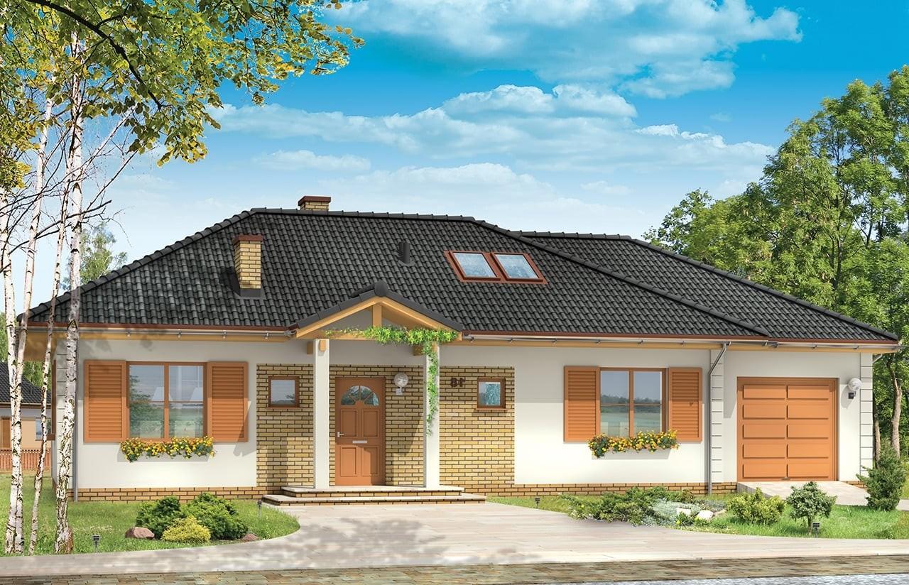 Projekt domu Dominik 2 - wizualizacja frontowa odbicie lustrzane