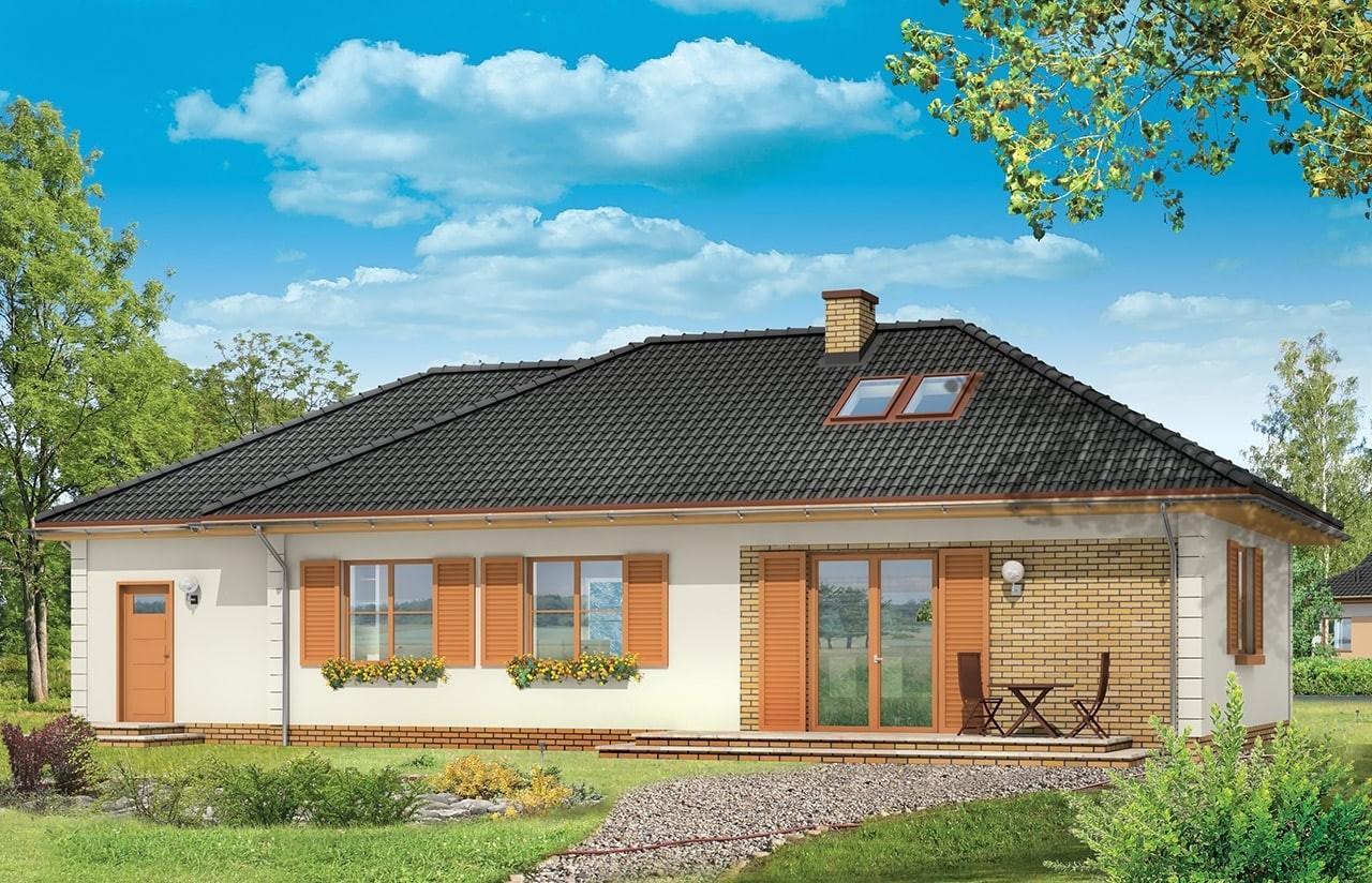 Projekt domu Dominik 2 - wizualizacja tylna odbicie lustrzane