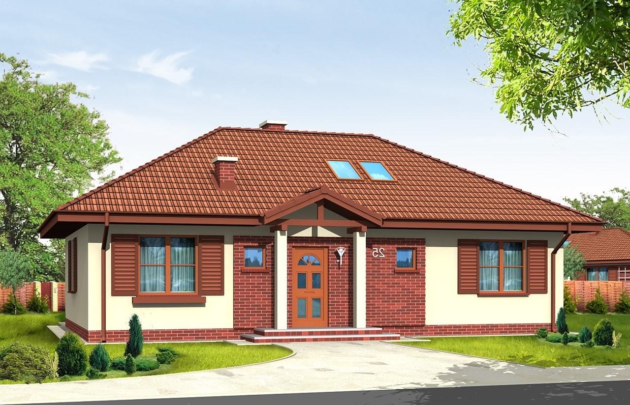 Projekt domu Dominik - wizualizacja frontowa odbicie lustrzane