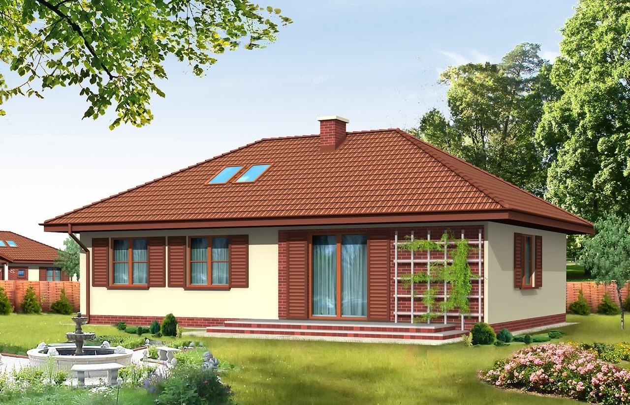 Projekt domu Dominik - wizualizacja tylna odbicie lustrzane