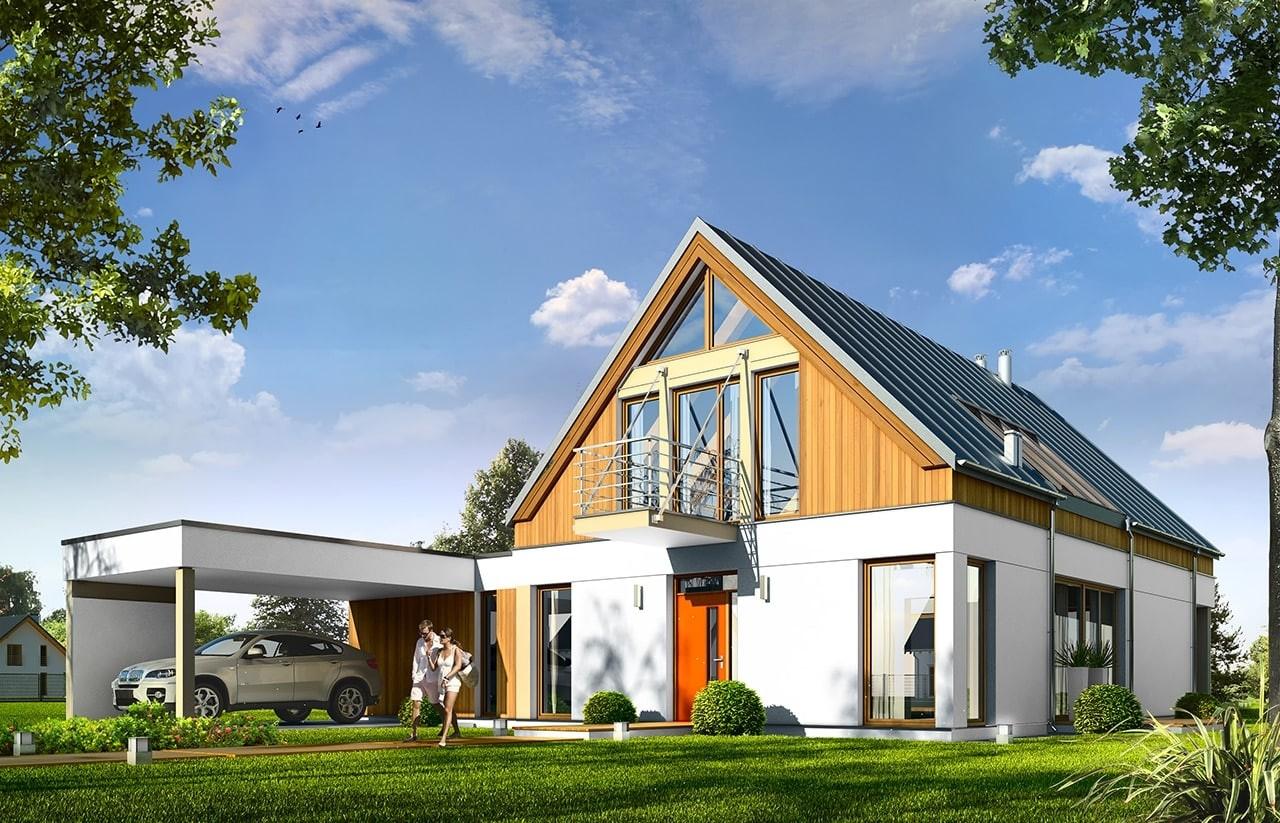 Projekt domu Domino - wizualizacja frontowa