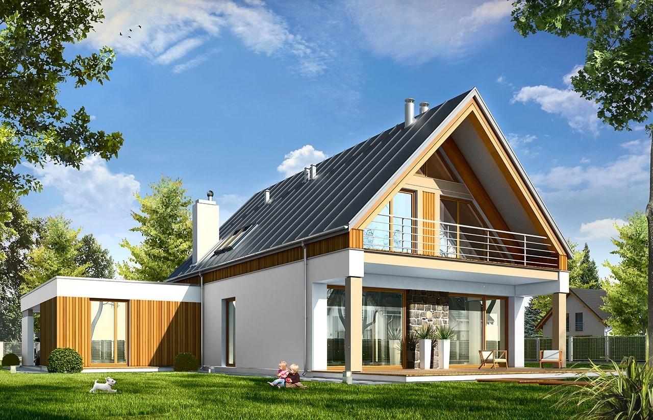 Projekt domu Domino - wizualizacja tylna odbicie lustrzane