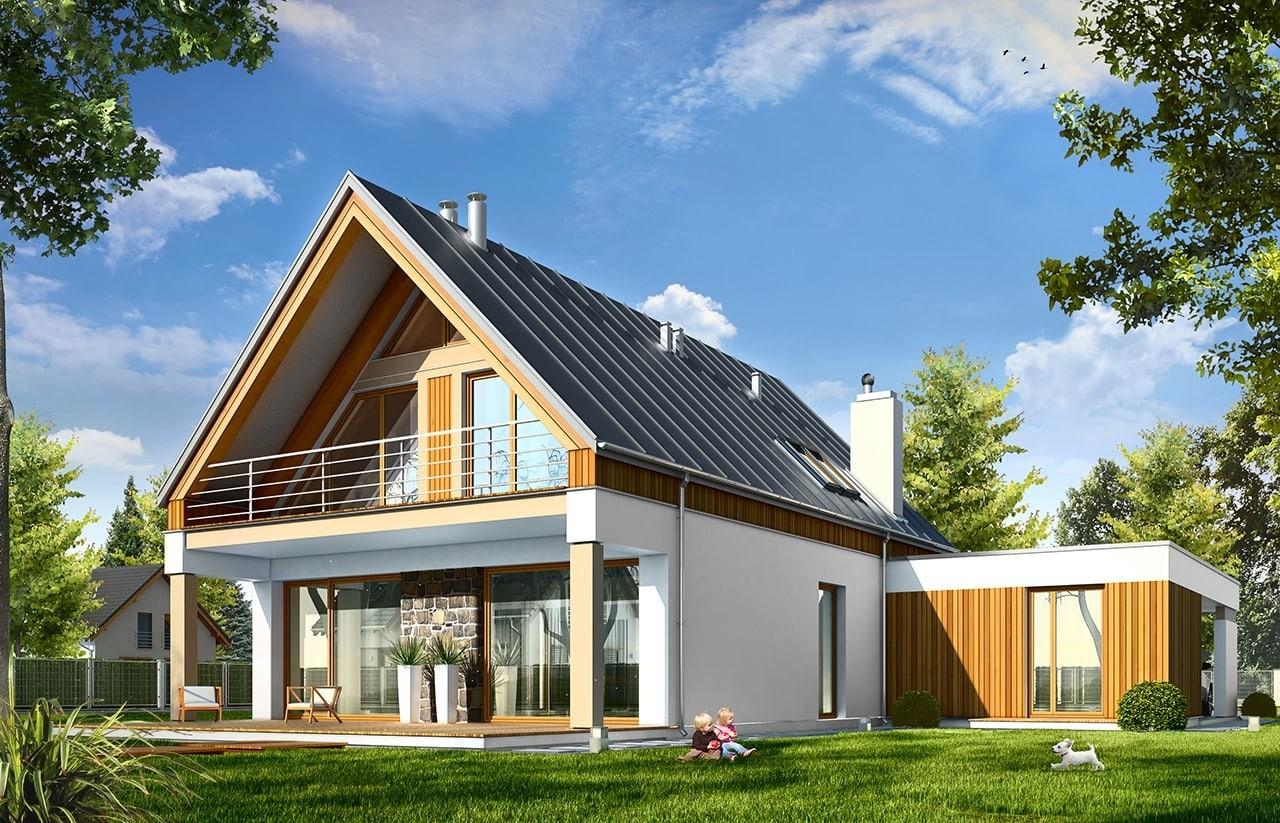 Projekt domu Domino - wizualizacja tylna