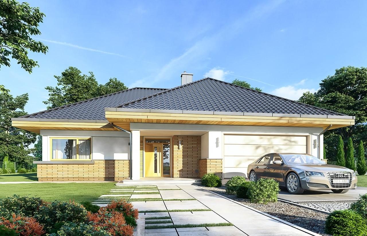 Projekt domu Doskonały 2 B - wizualizacja frontowa odbicie lustrzane