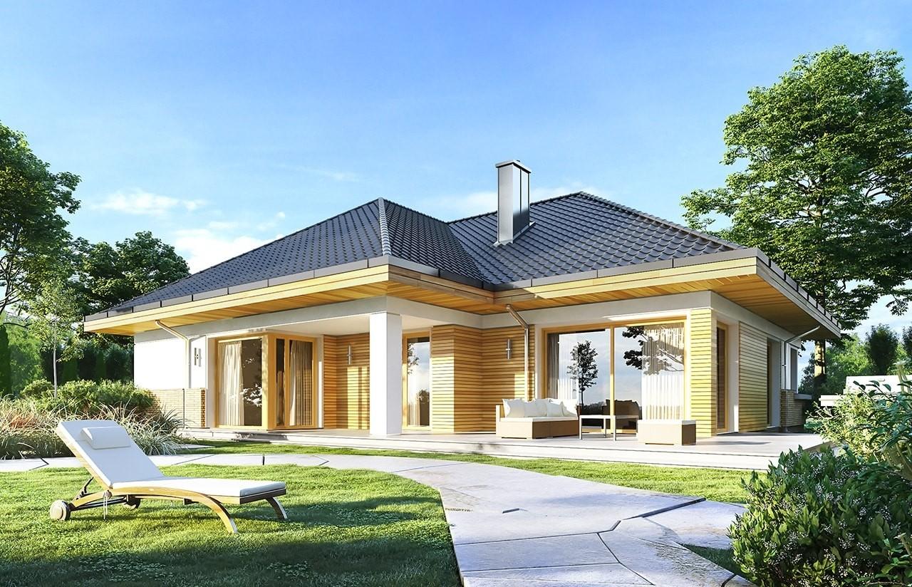 Projekt domu Doskonały 2 B - wizualizacja tylna odbicie lustrzane
