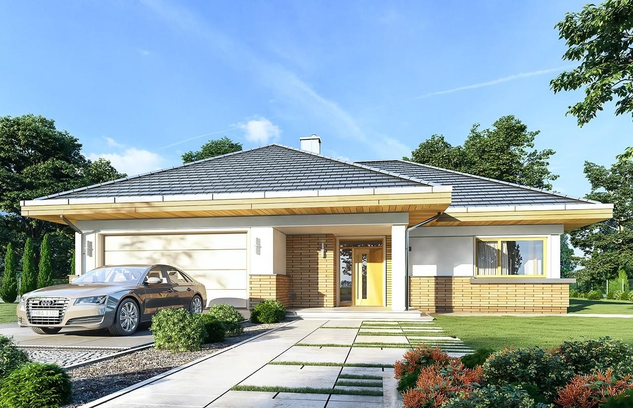 Projekt domu Doskonały 2 - wizualizacja frontowa odbicie lustrzane