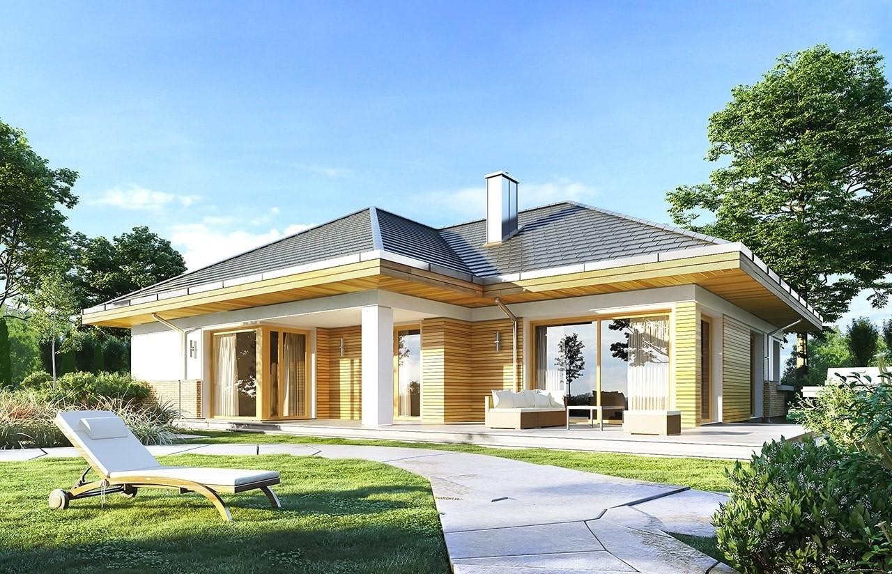 Projekt domu Doskonały 2 - wizualizacja tylna odbicie lustrzane
