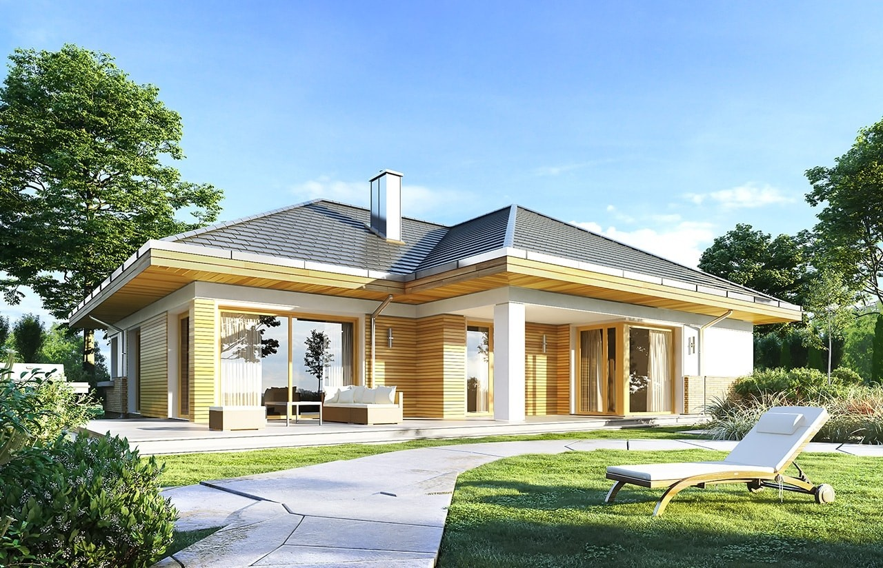 Projekt domu Doskonały 2 - wizualizacja tylna