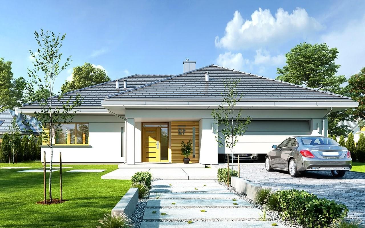 Projekt domu Doskonały - wizualizacja frontowa odbicie lustrzane