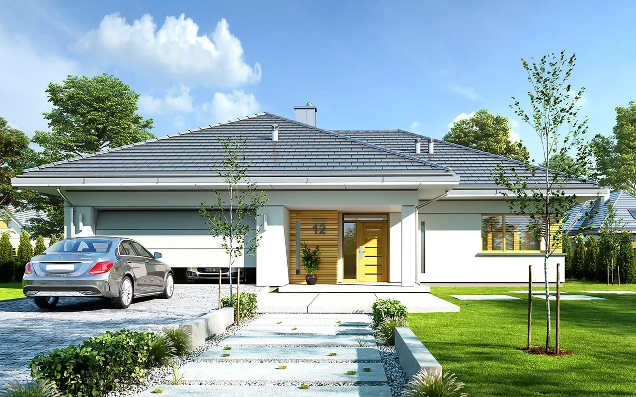 Projekt domu Doskonały - wizualizacja frontowa