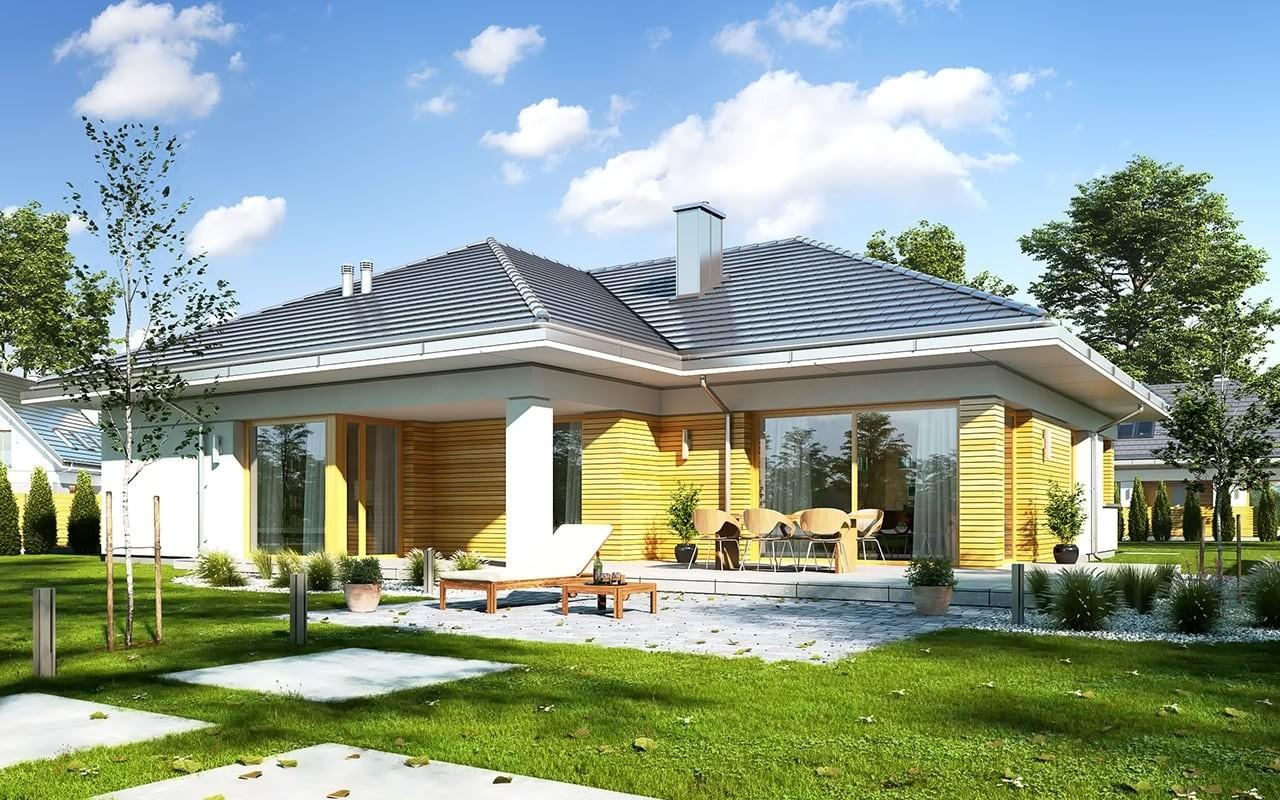 Projekt domu Doskonały - wizualizacja tylna odbicie lustrzane