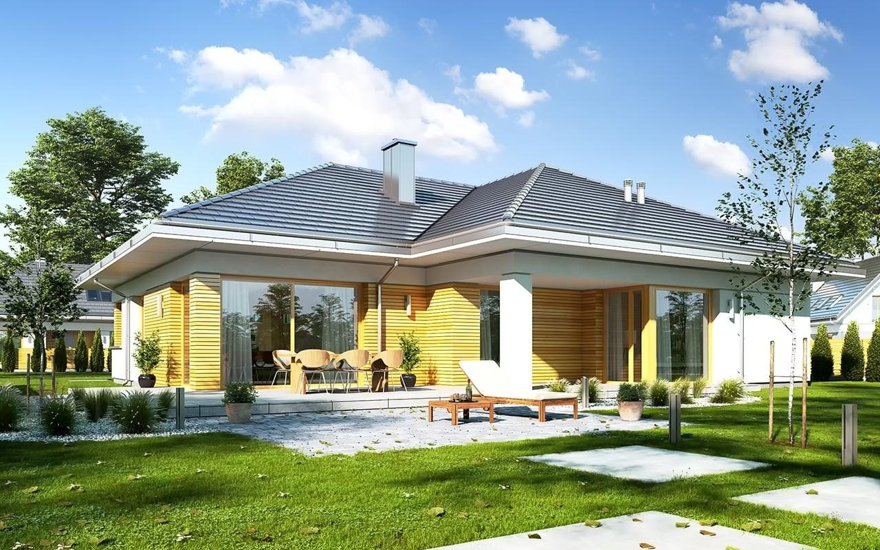 Projekt domu Doskonały - wizualizacja tylna