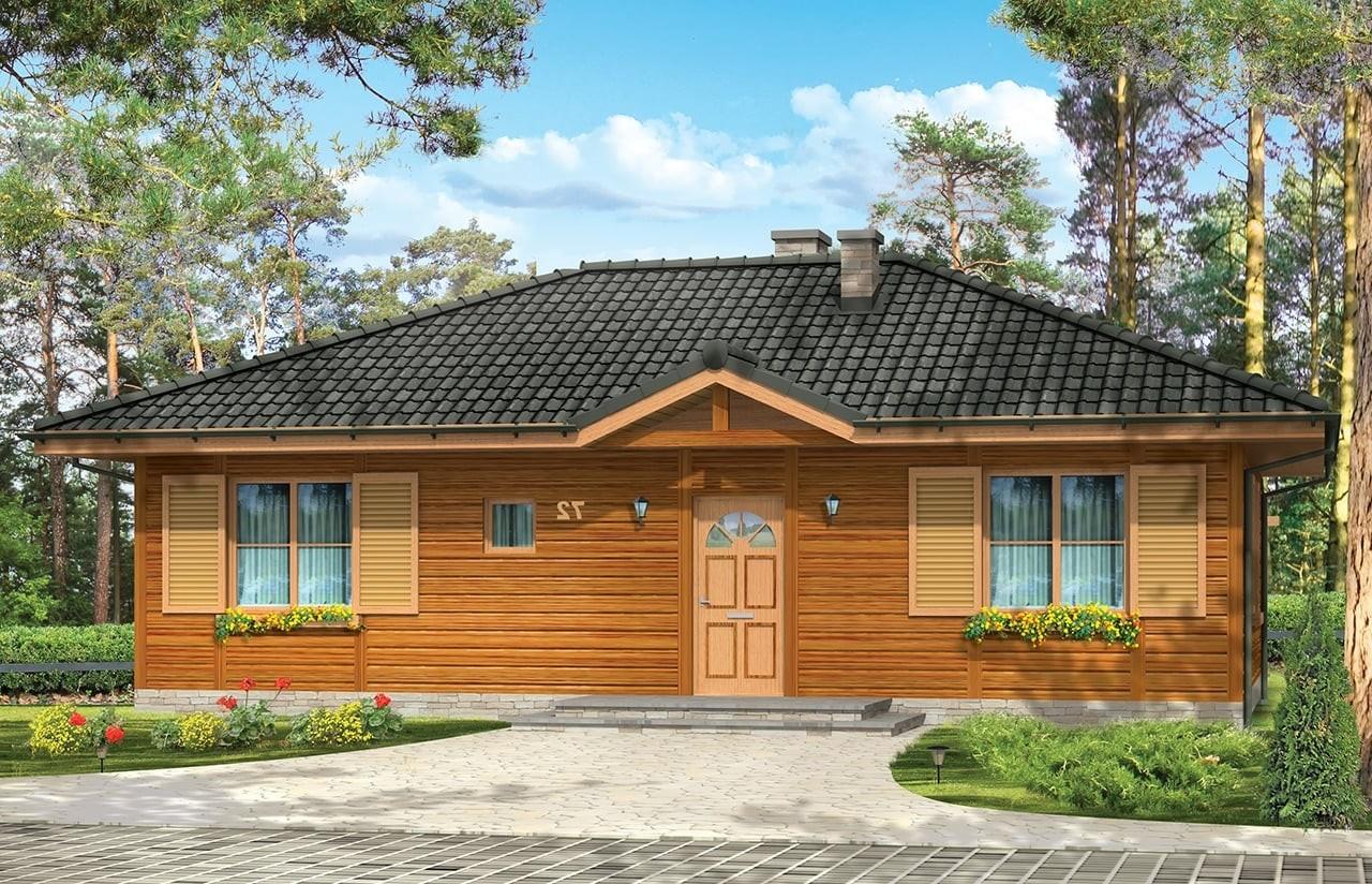 Projekt domu Dudek - wizualizacja frontowa 2 odbicie lustrzane