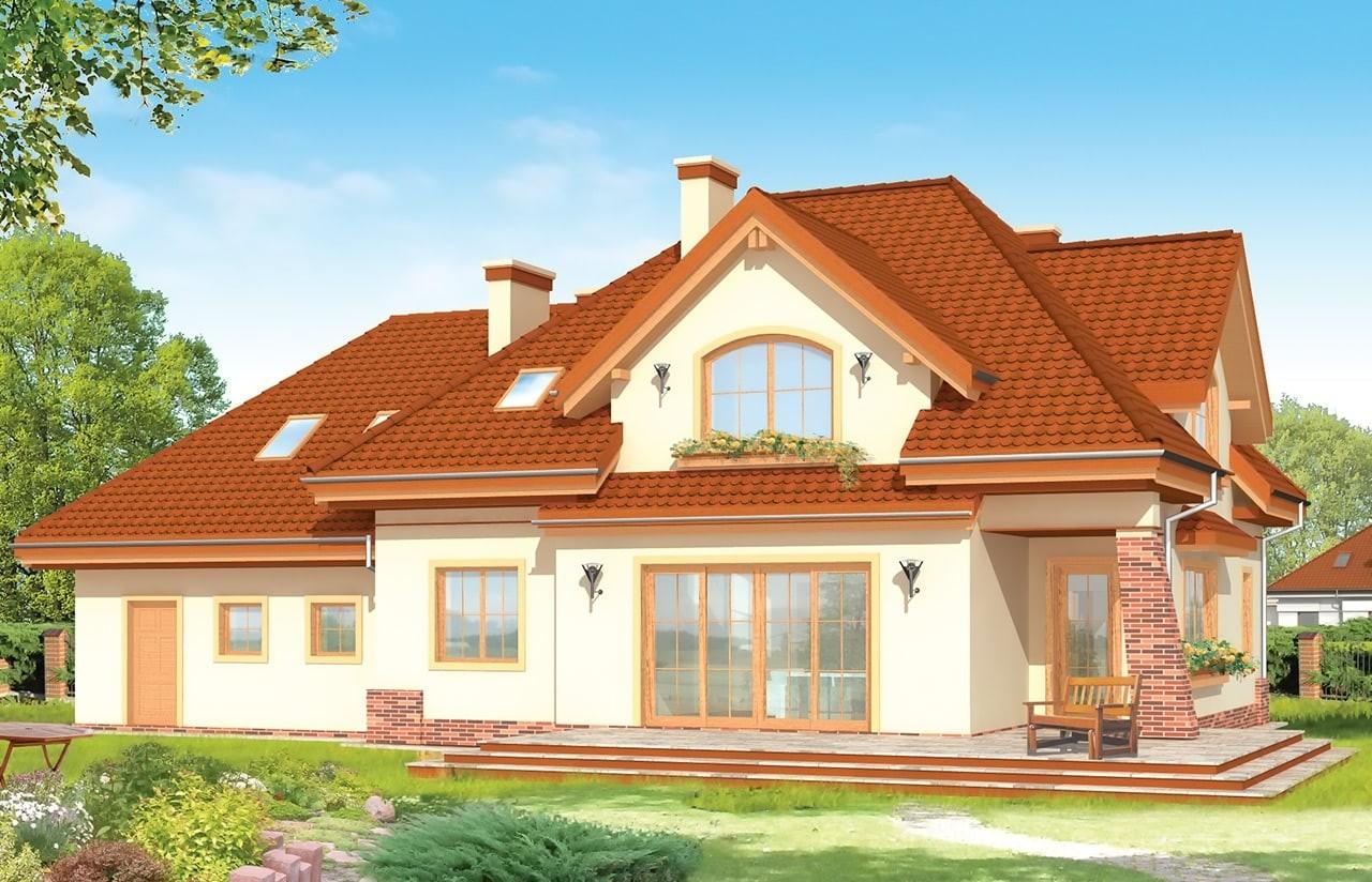 Projekt domu Edyta - wizualizacja tylna odbicie lustrzane