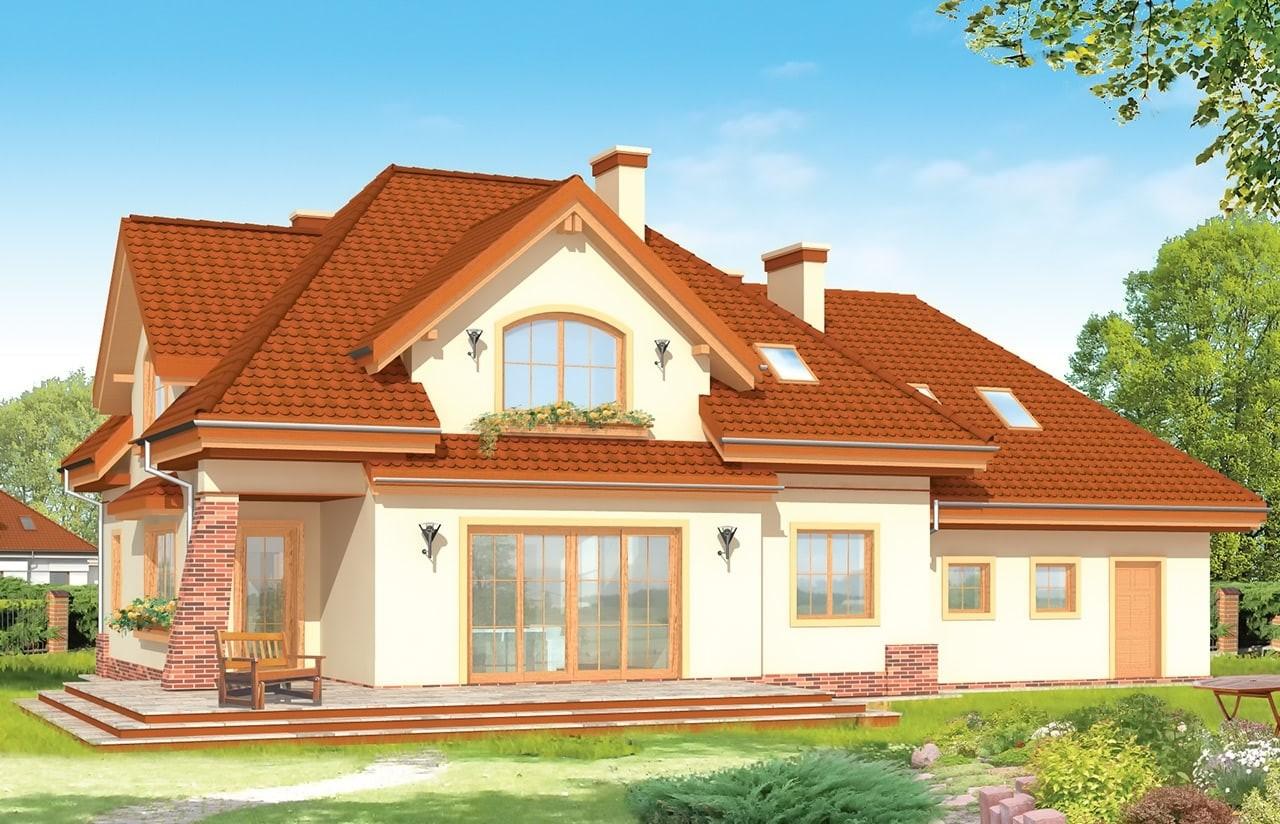 Projekt domu Edyta - wizualizacja tylna