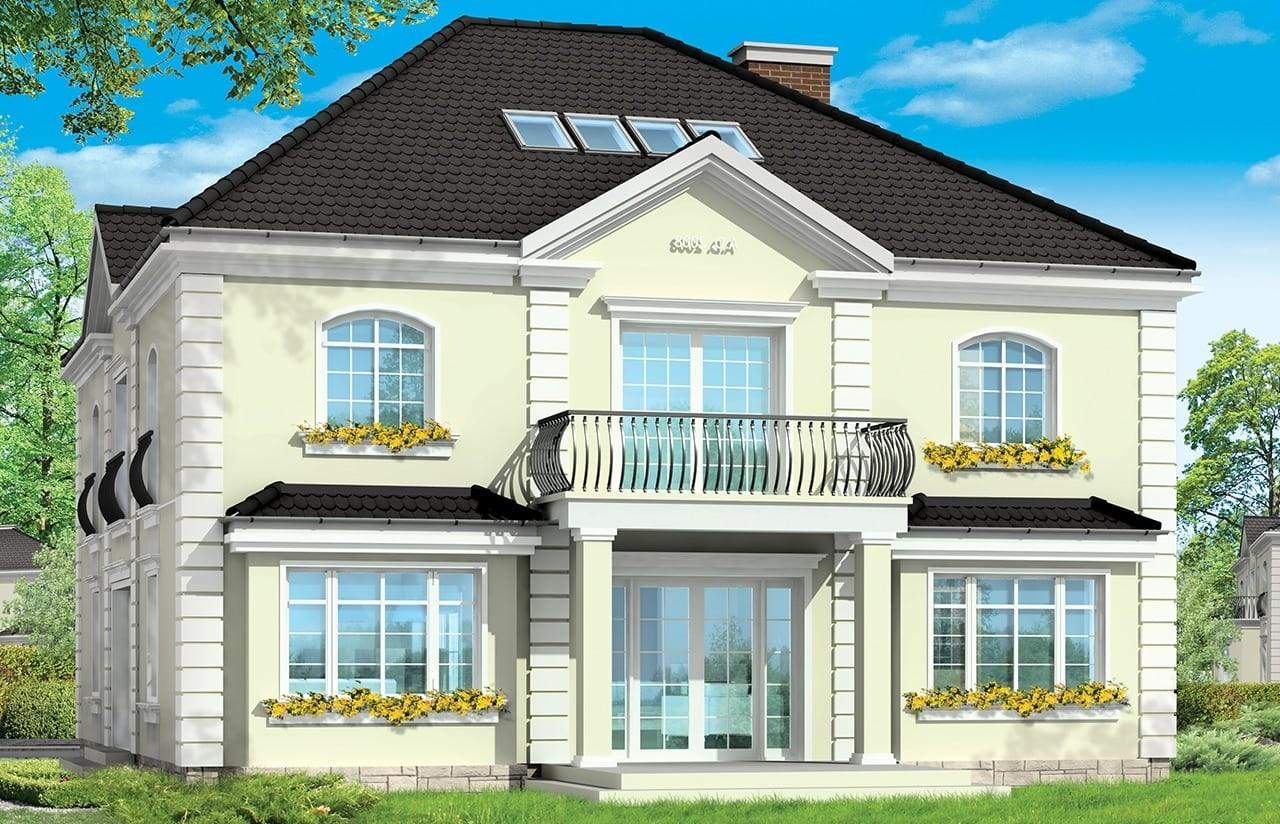 Projekt domu Elegancki - wizualizacja tylna odbicie lustrzane