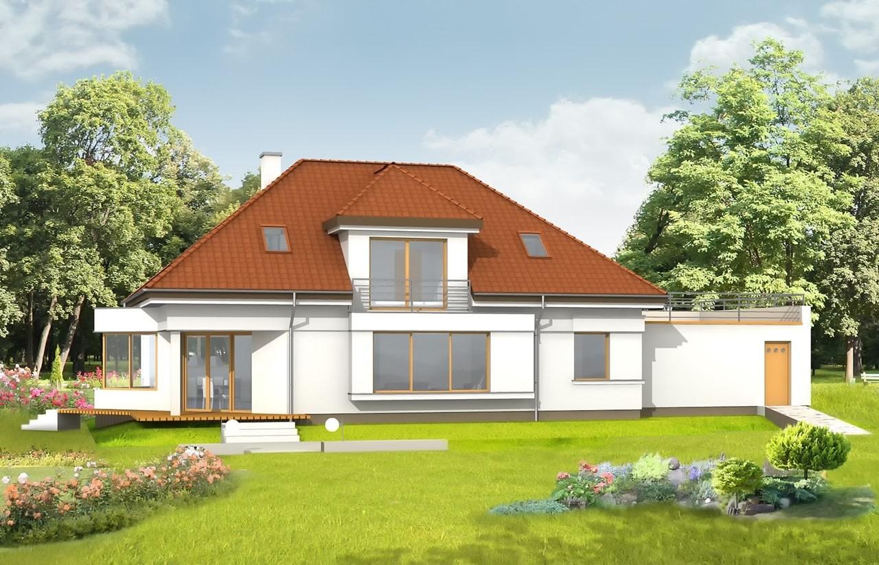 Projekt domu Eko - wizualizacja tylna