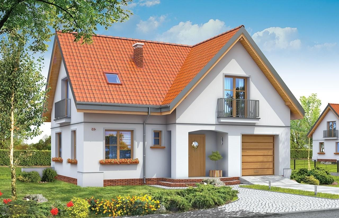 Projekt domu Elka - wizualizacja frontowa odbicie lustrzane