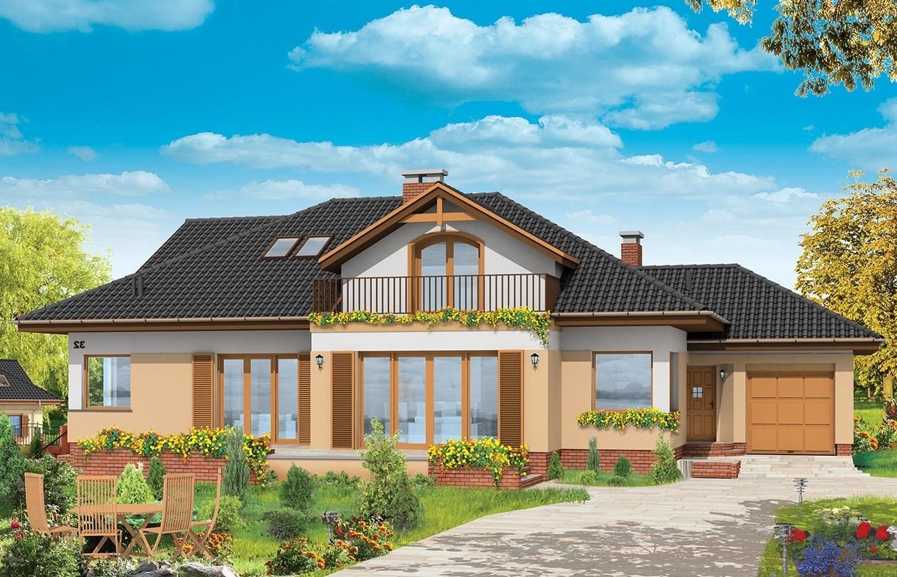 Projekt domu Familijny - wizualizacja frontowa odbicie lustrzane