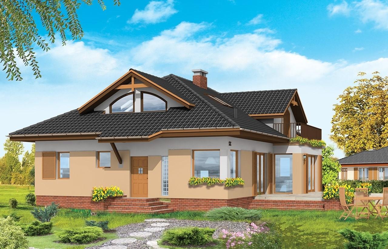 Projekt domu Familijny - wizualizacja tylna odbicie lustrzane