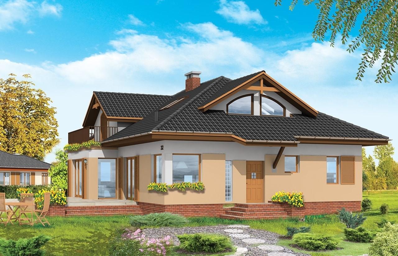 Projekt domu Familijny - wizualizacja tylna