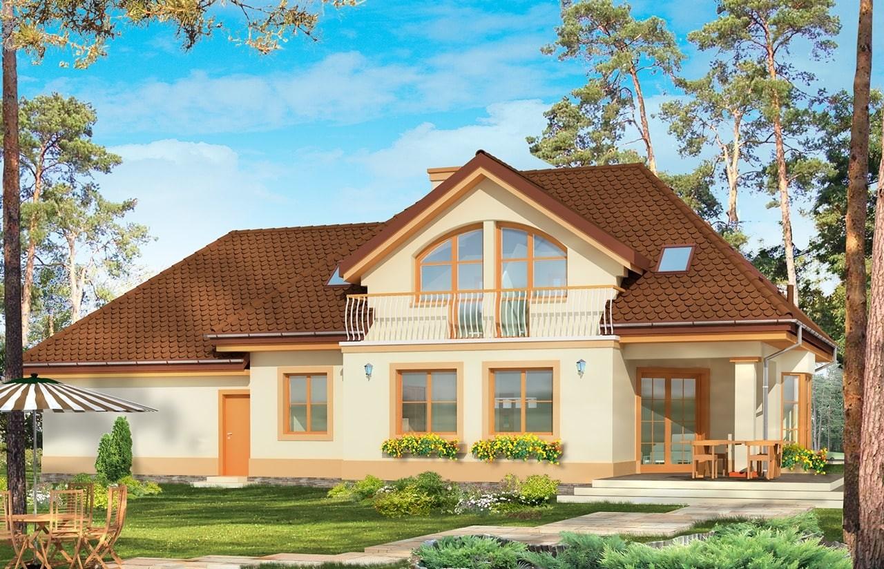 Projekt domu Faworyt 2 - wizualizacja tylna odbicie lustrzane