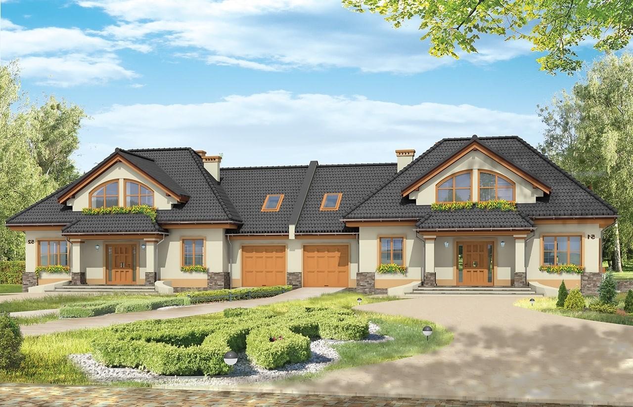 Projekt domu Faworyt 3 - wizualizacja frontowa odbicie lustrzane