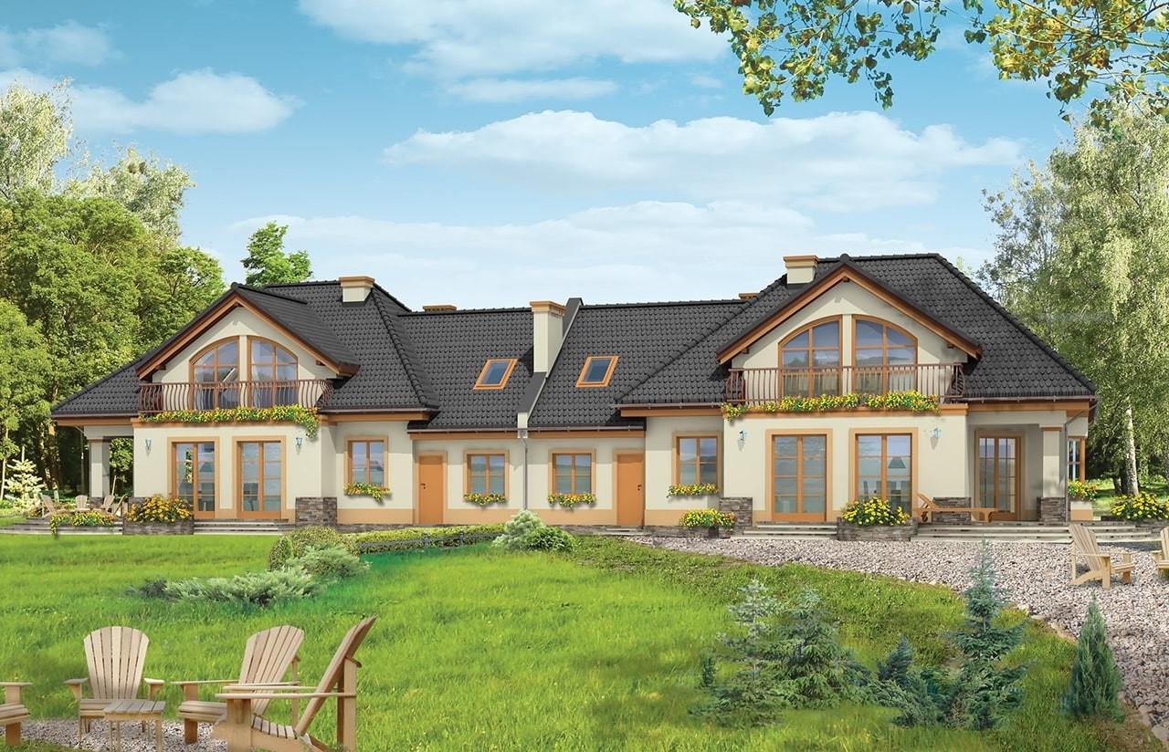 Projekt domu Faworyt 3 - wizualizacja tylna odbicie lustrzane