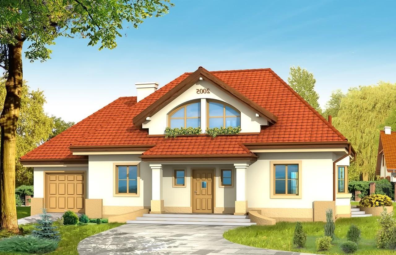 Projekt domu Faworyt - wizualizacja frontowa odbicie lustrzane
