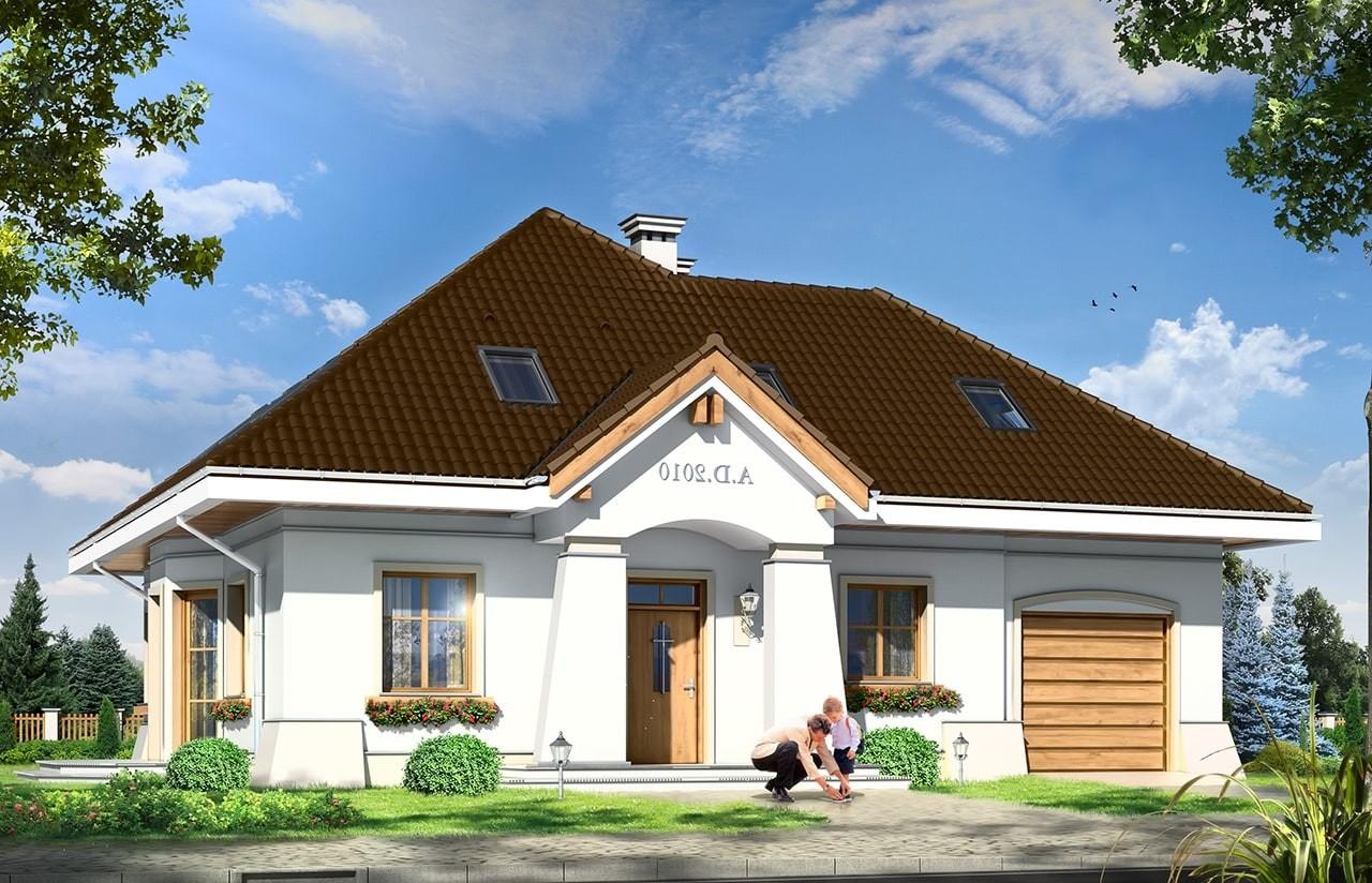 Projekt domu Figiel 2 - wizualizacja frontowa odbicie lustrzane