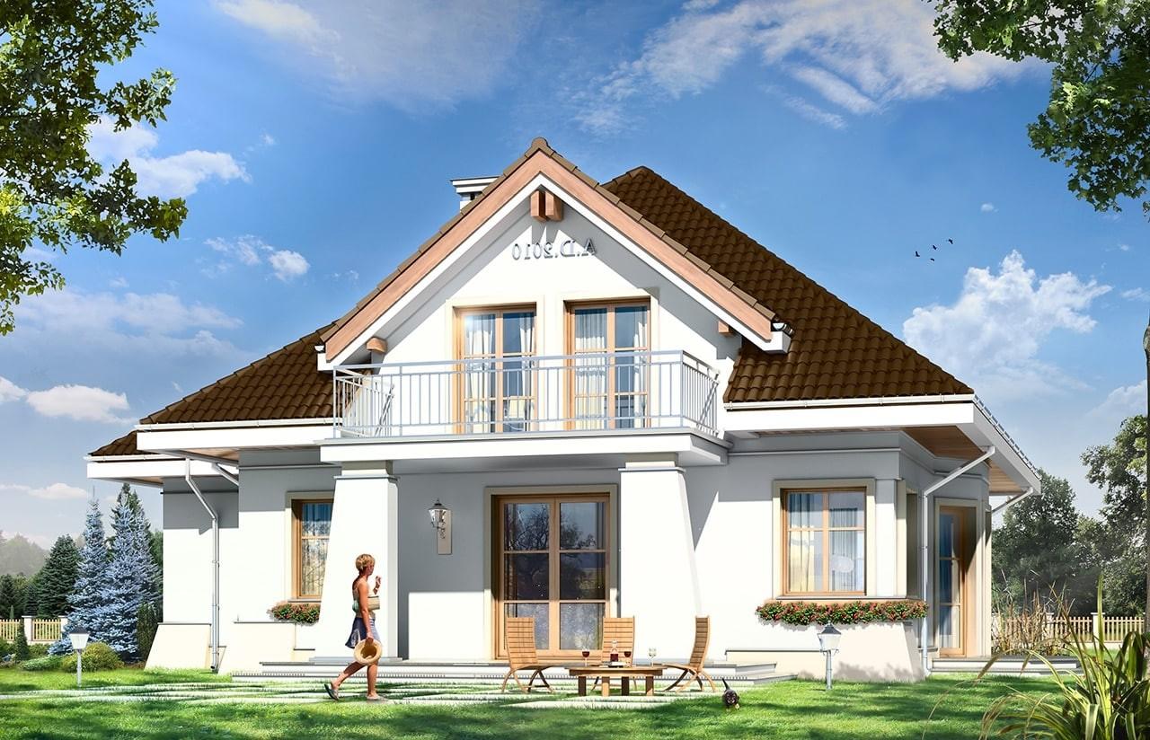 Projekt domu Figiel 2 - wizualizacja tylna odbicie lustrzane
