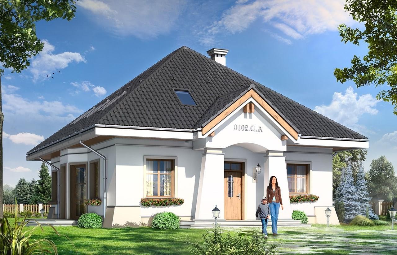 Projekt domu Figiel - wizualizacja frontowa odbicie lustrzane