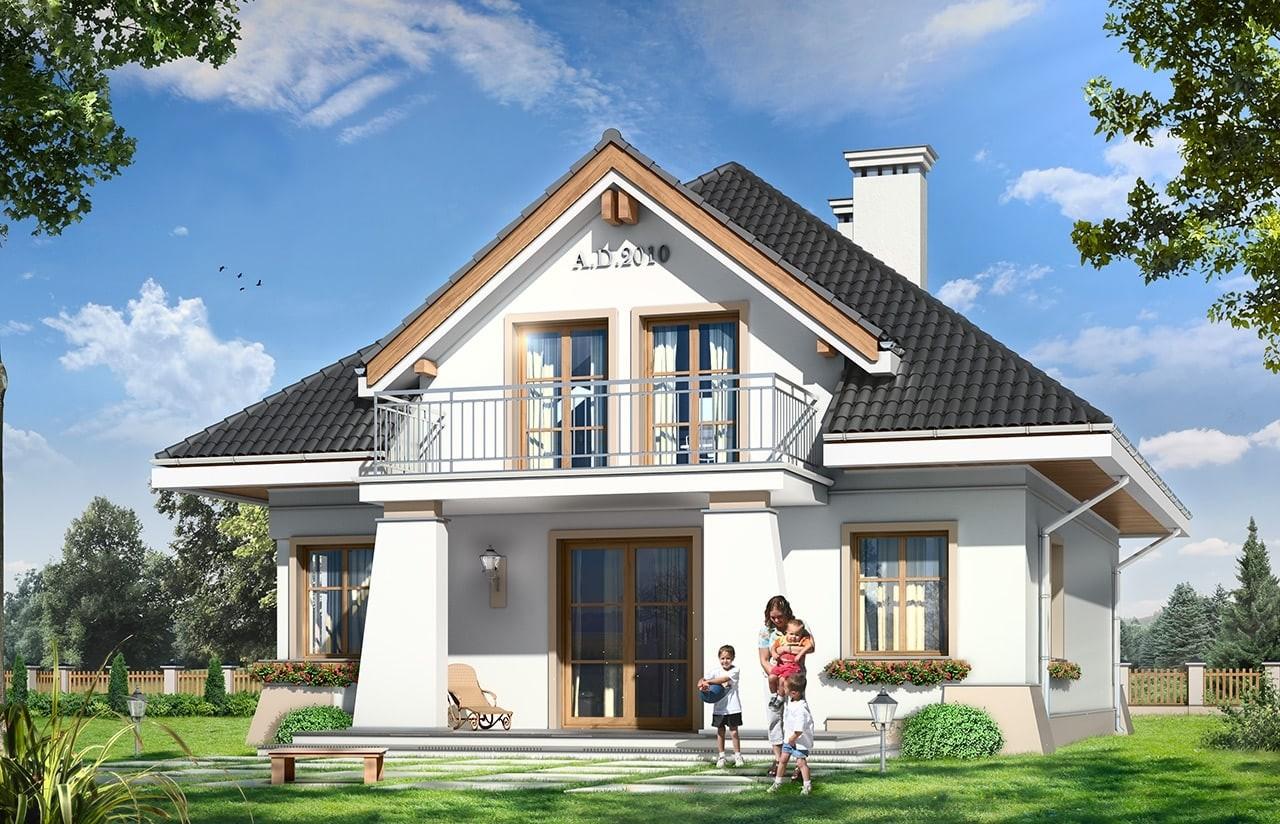 Projekt domu Figiel - wizualizacja tylna