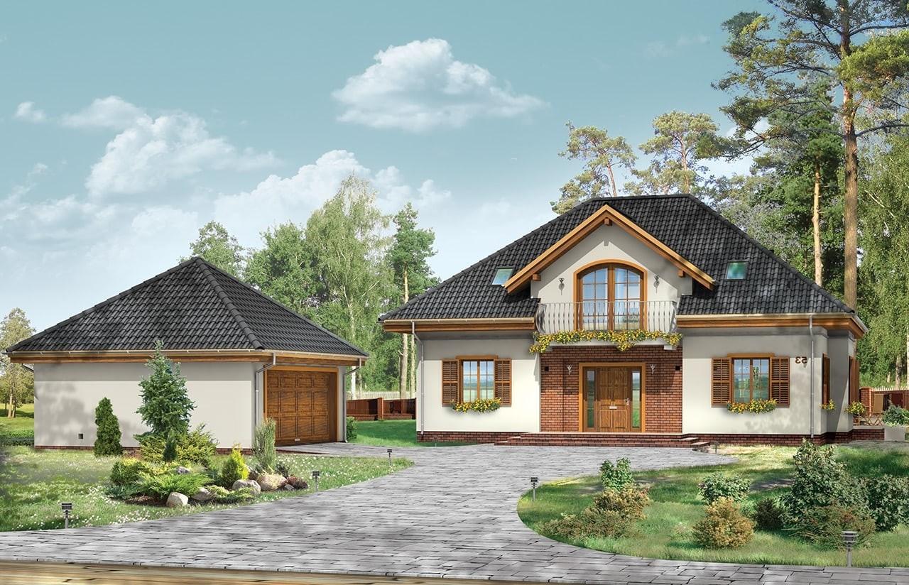 Projekt domu Filip - wizualizacja frontowa odbicie lustrzane