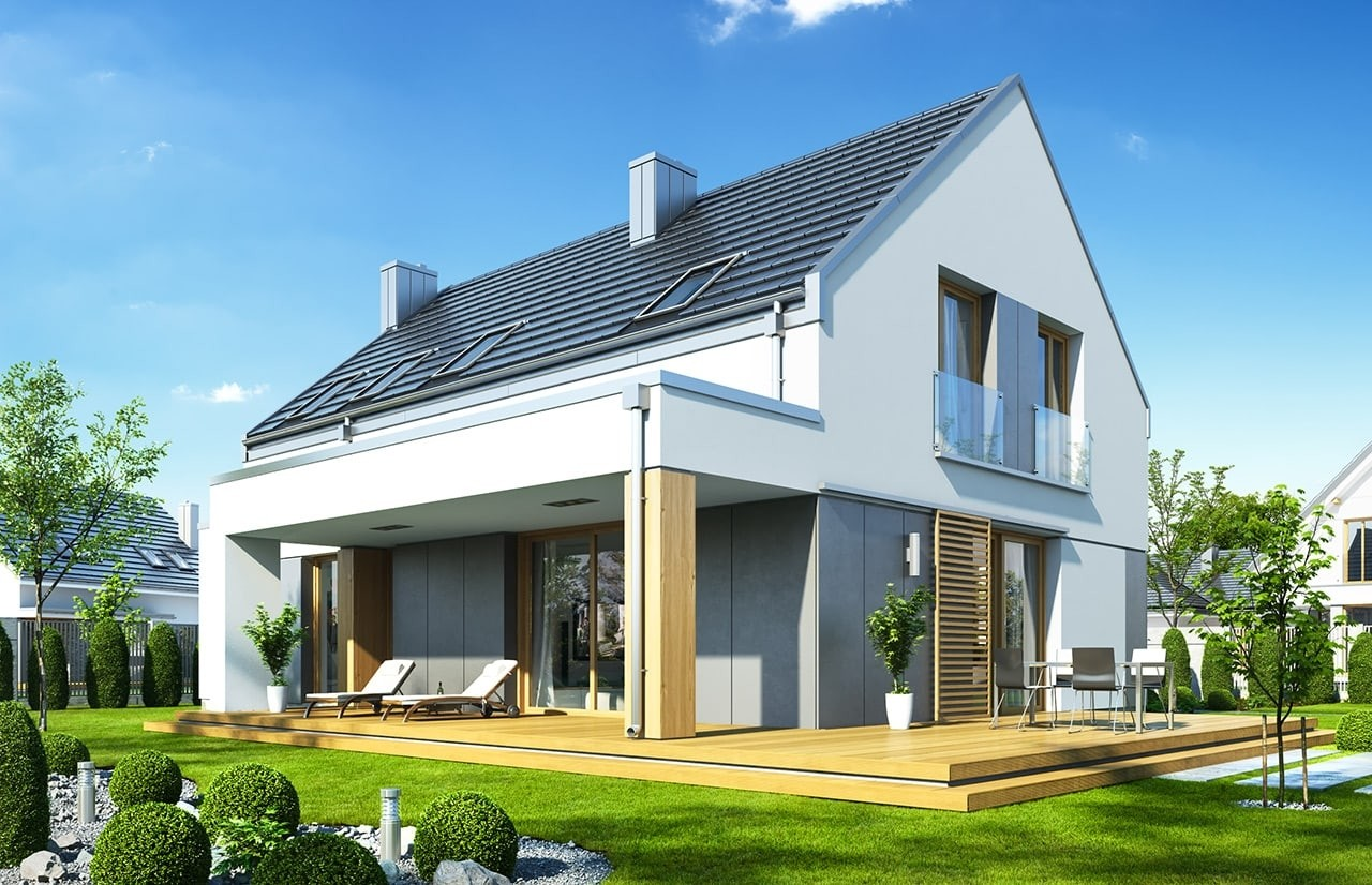 Projekt domu Fokstrot - wizualizacja tylna odbicie lustrzane