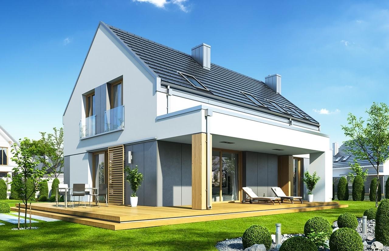 Projekt domu Fokstrot - wizualizacja tylna