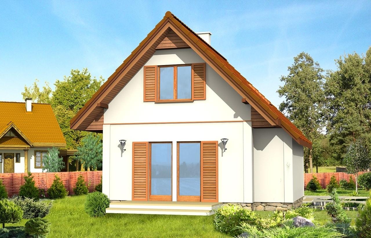 Projekt domu Francik - wizualizacja tylna odbicie lustrzane