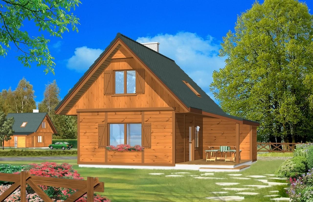 Projekt domu Francik z tarasem - wizualizacja frontowa odbicie lustrzane