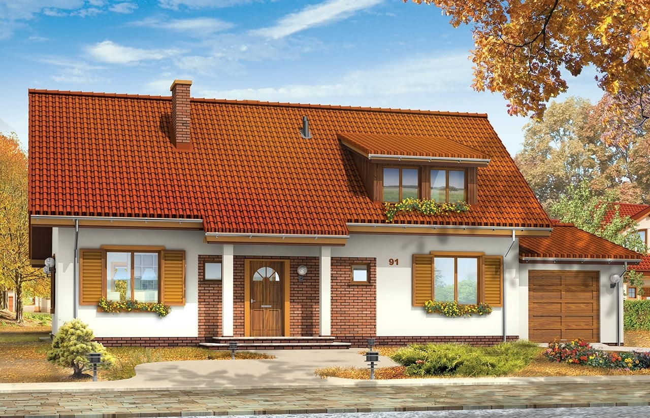 Projekt domu Fraszka 2 - wizualizacja frontowa