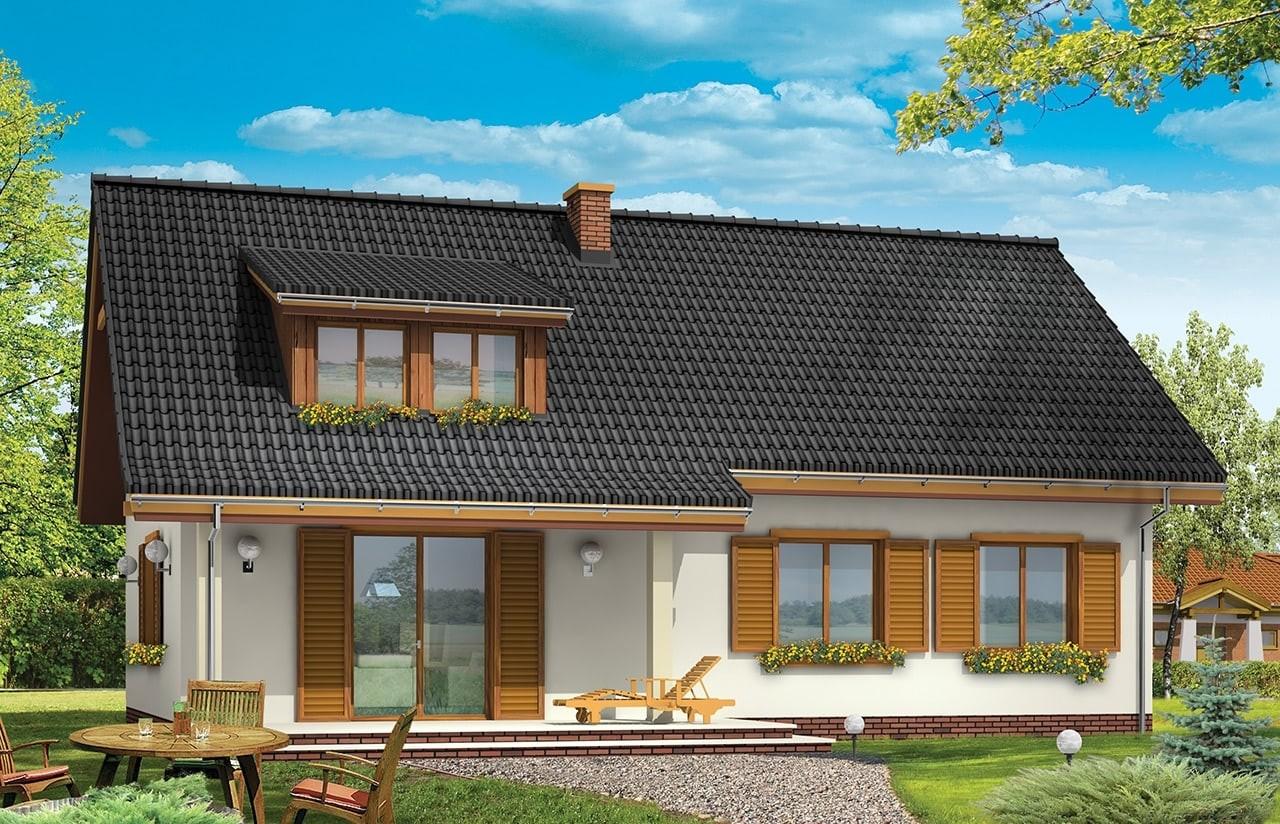 Projekt domu Fraszka - wizualizacja tylna odbicie lustrzane