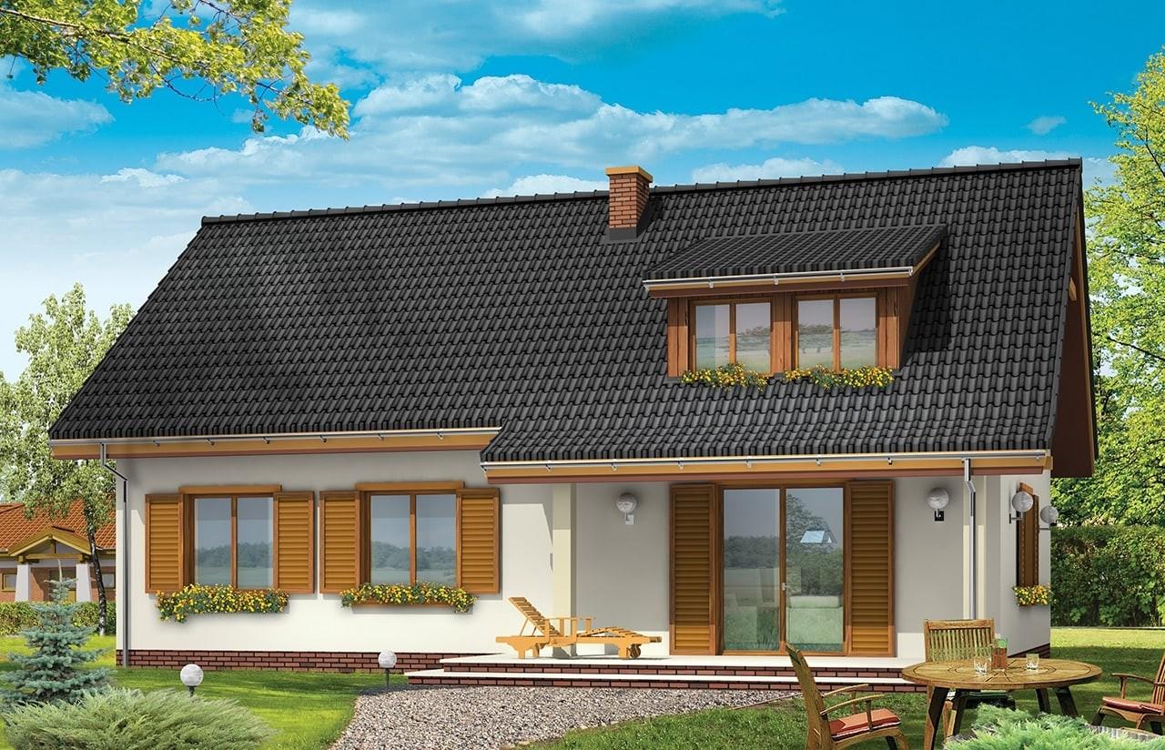 Projekt domu Fraszka - wizualizacja tylna