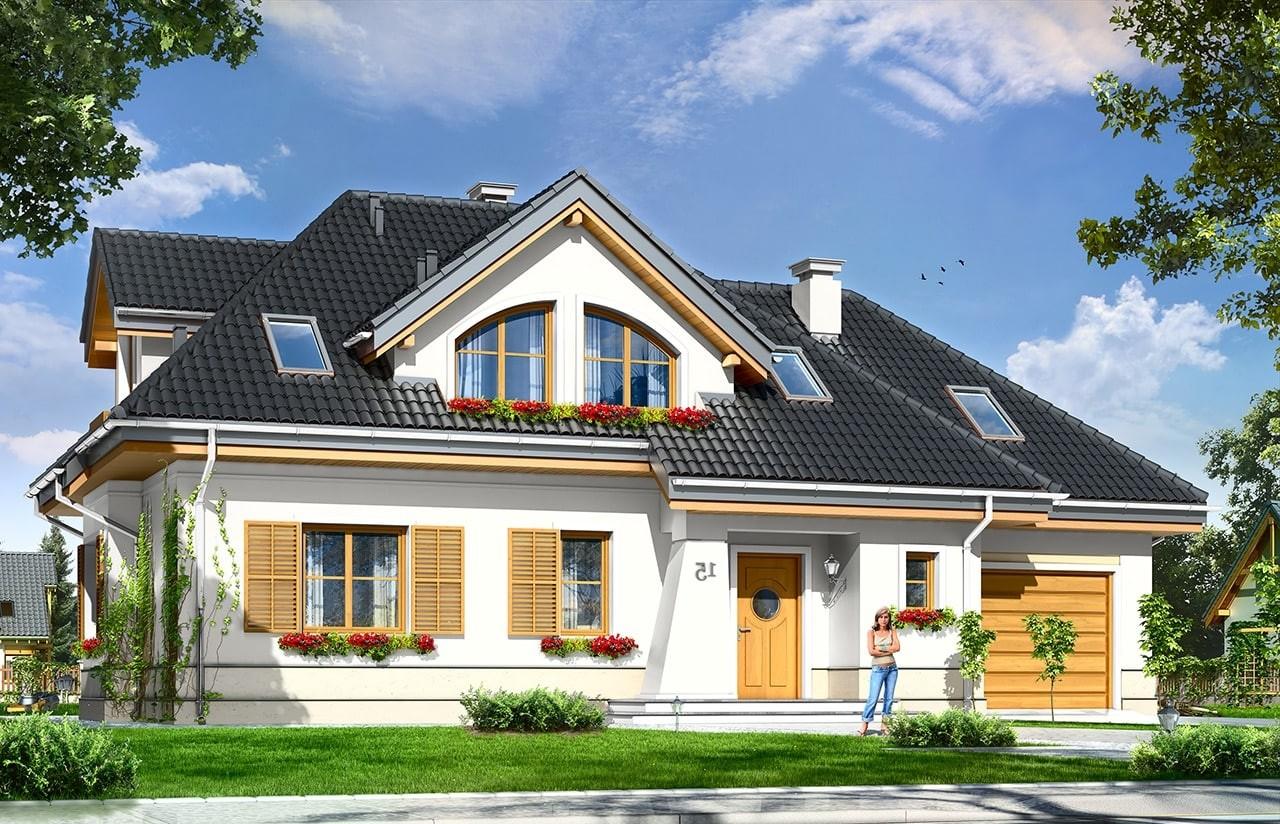 Projekt domu Gabryś - wizualizacja frontowa odbicie lustrzane