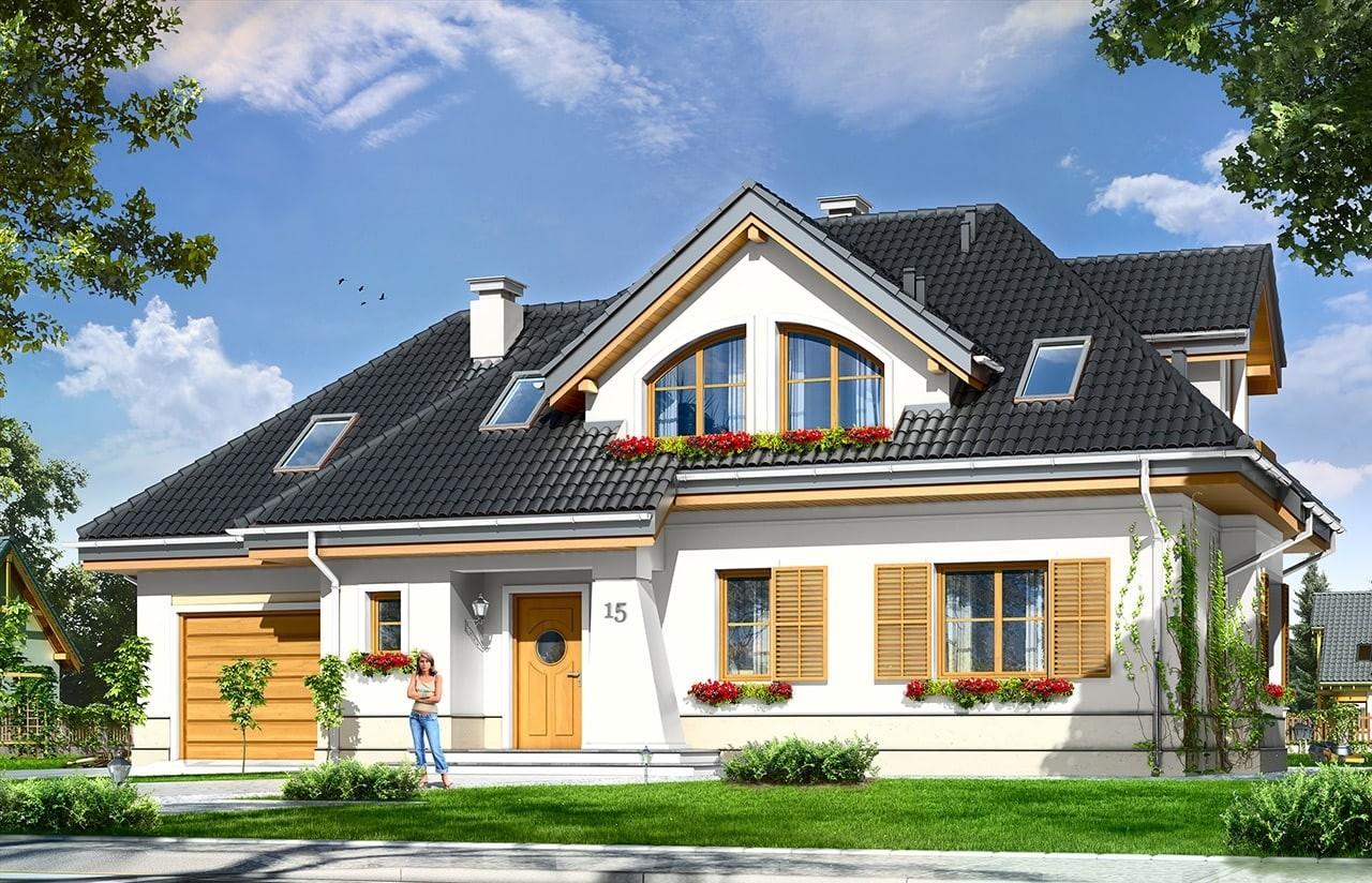 Projekt domu Gabryś - wizualizacja frontowa