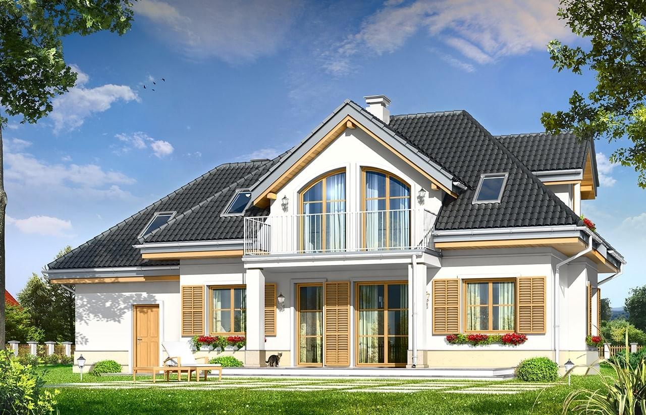 Projekt domu Gabryś - wizualizacja tylna odbicie lustrzane