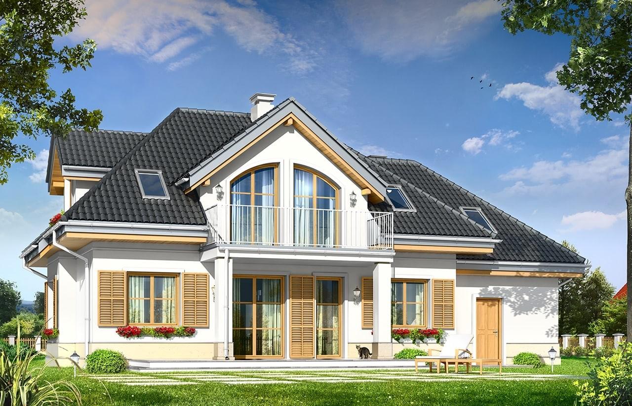 Projekt domu Gabryś - wizualizacja tylna