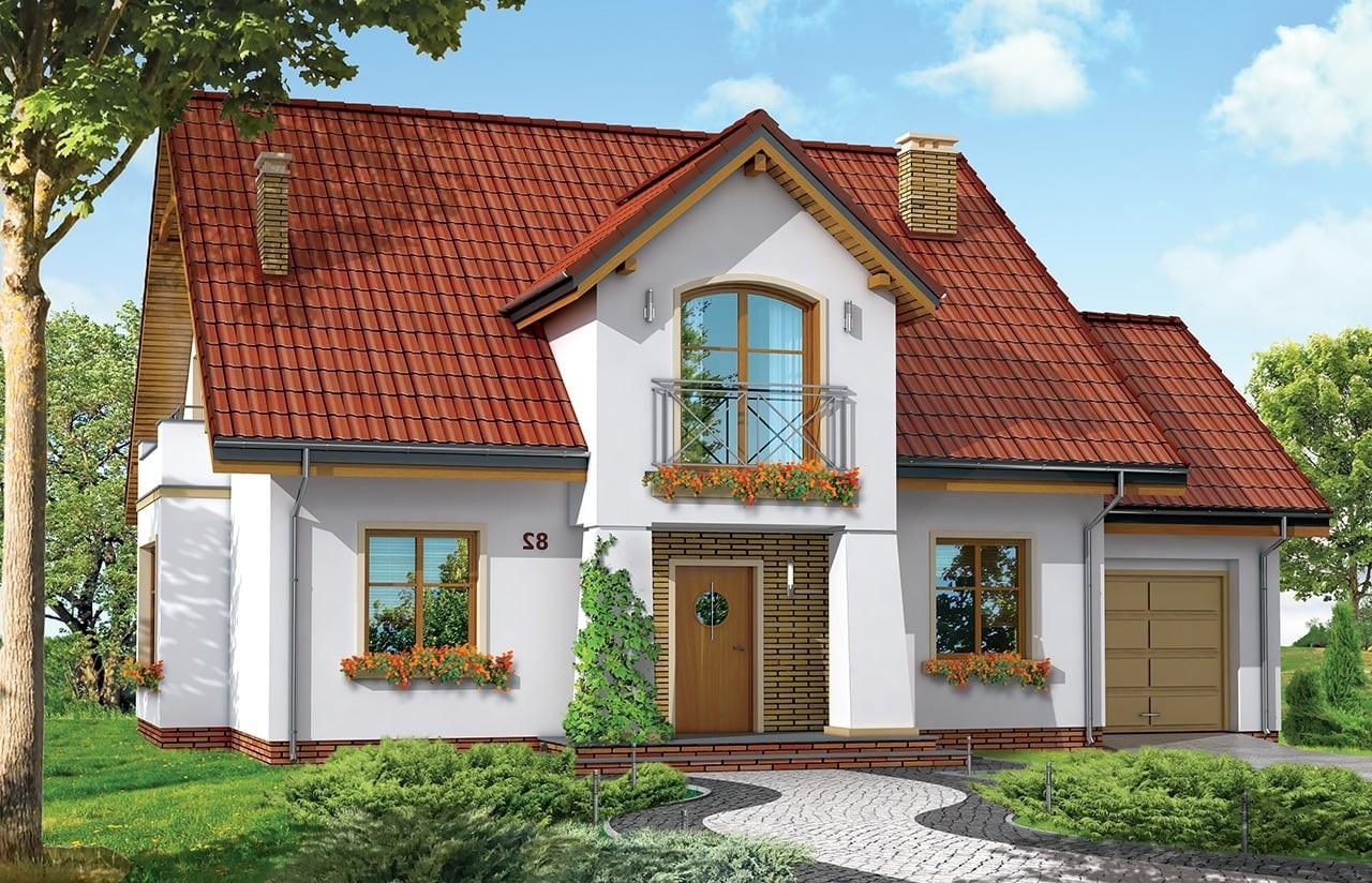 Projekt domu Gagatek - wizualizacja frontowa odbicie lustrzane