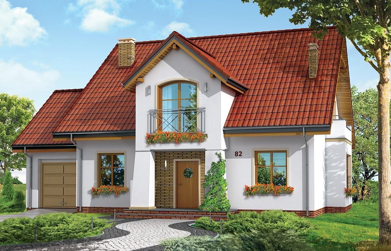 Projekt domu Gagatek - wizualizacja frontowa